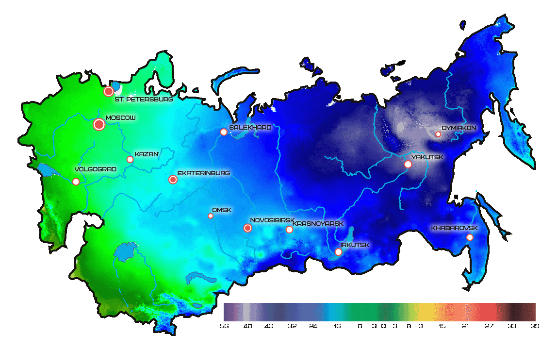 Average temperature map for December in Russia